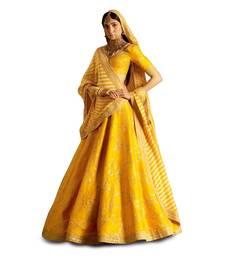 Buy Yellow embroidered silk unstitched lehenga with dupatta lehenga-choli online