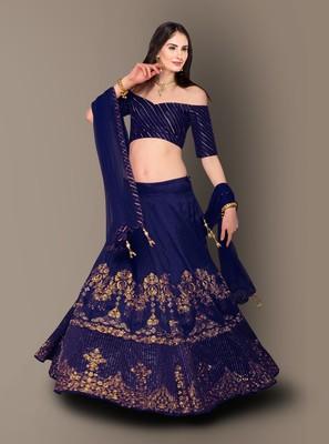 Elegant Dark Blue Raw Silk Embroidered Wedding Designer Lehenga Choli Dupatta Set
