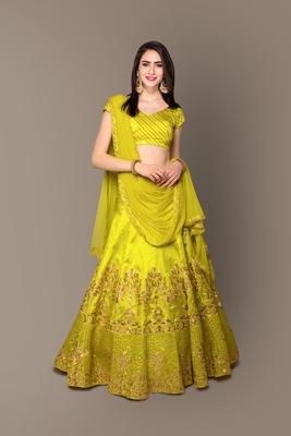 Elegant Green Rawsilk Embroidered Partywear Designer Lehenga Choli Dupatta Set