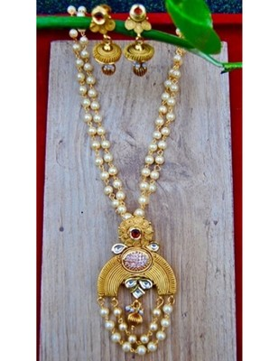 Antique Chand Pendant Set on Pearl Strings