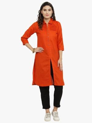 Orange woven cotton kurti