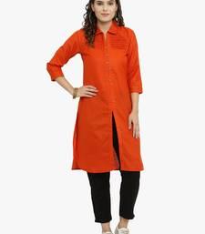 Indibelle Orange woven cotton kurti