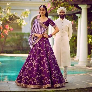 Amazing Purple Embroidered Partywear Bollywood Lehenga Choli Dupatta Set