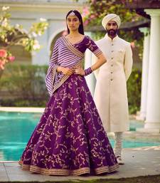 Buy Amazing Purple Embroidered Partywear Bollywood Lehenga Choli Dupatta Set lehenga-choli online