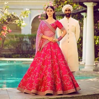 Amazing Bright Pink Embroidered Bollywood Designer Lehenga Choli Dupatta Set