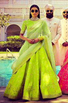 5b902b9fc9 Amazing Bright Green Embroidered Wedding Designer Lehenga Choli Dupatta  Set. Shop Now