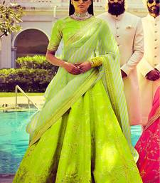 Amazing Bright Green Embroidered Wedding Designer Lehenga Choli Dupatta Set