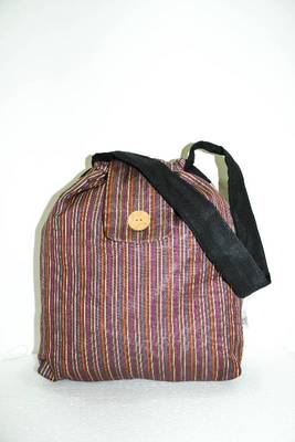 Brown Threaded Multiple Strips HandBag