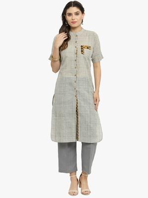 Grey woven cotton kurtis