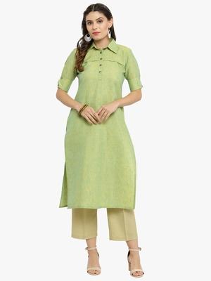 Lime woven cotton kurtis