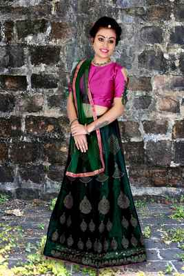 Green diamond silk semi stitched lehenga with dupatta