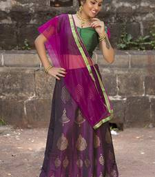 Dark-wine diamond silk semi stitched lehenga with dupatta