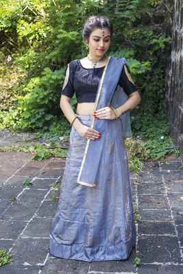 Grey diamond silk semi stitched lehenga with dupatta