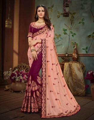 c8a4bdf8025937 Multicolor embroidered silk saree with blouse - DesiButik - 2755399