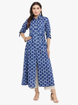 Blue woven cotton kurtis