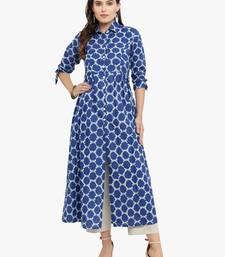 Indibelle Blue woven cotton kurtis
