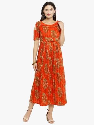 Indibelle Orange woven cotton kurtis