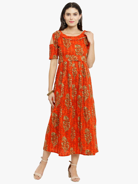 6d40027f07caf Orange Kurti Online   Buy Plain Orange Kurtis with Embroidery Neck Designs  for Women