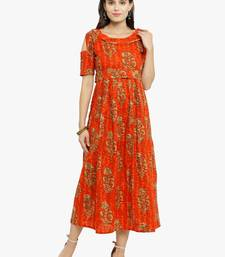 Orange woven cotton kurtis