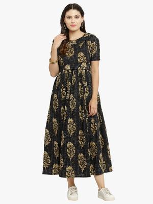 Indibelle Black woven cotton kurtis