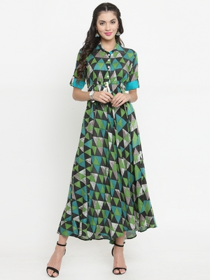 Green woven viscose rayon kurtis