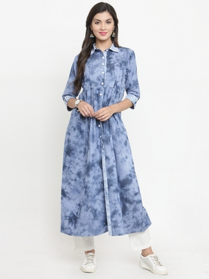 Dark-blue woven cotton kurtis