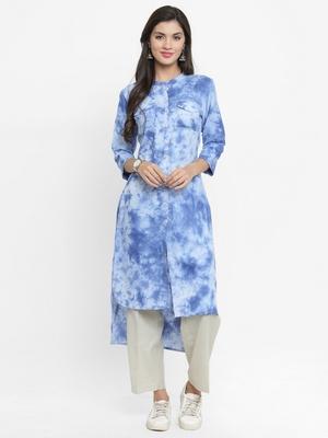 Indibelle Sky-blue woven cotton kurtis