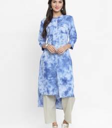 Sky-blue woven cotton kurtis