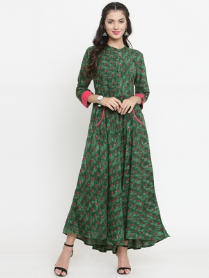 Sea-green woven viscose rayon kurtis