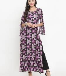 Indibelle Purple woven viscose rayon kurtis