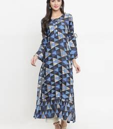 Navy-blue woven viscose rayon kurtis
