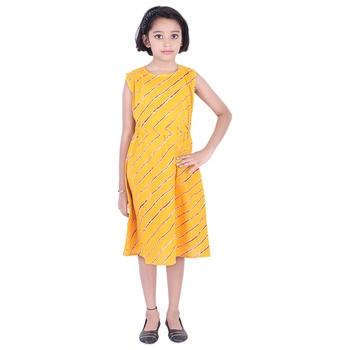 Yellow printed cotton kids-frocks
