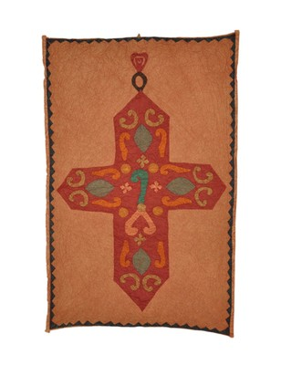 Lal Haveli Cross Patchwork wall Hanging Ethnic Cotton Tapestry Vintage 36 X 53 Inches