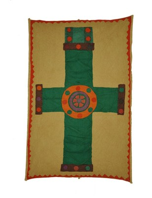 Lal Haveli Ethnic wall Decor Cotton Cross Patchwork wall Hanging Vintage 36 X 55 Inches