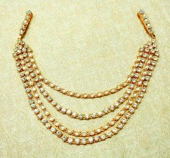 White Kundan Stone Gold plated Half juda Kamarband Waist Belt hip Chain for wedding Festival - LHKB01_WT