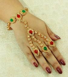 Multi-colour Stone Adjustable Free Size Hathphool Hathpanja (1 Pc) Multi Layer Rings wedding Festival - LHP05_MG haath-phool-hath-panja