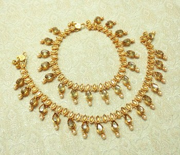 Golden LCT Kundan Stone Gold plated Adjustable Free Size Anklet Payal for wedding Festival - LLA06_LCT