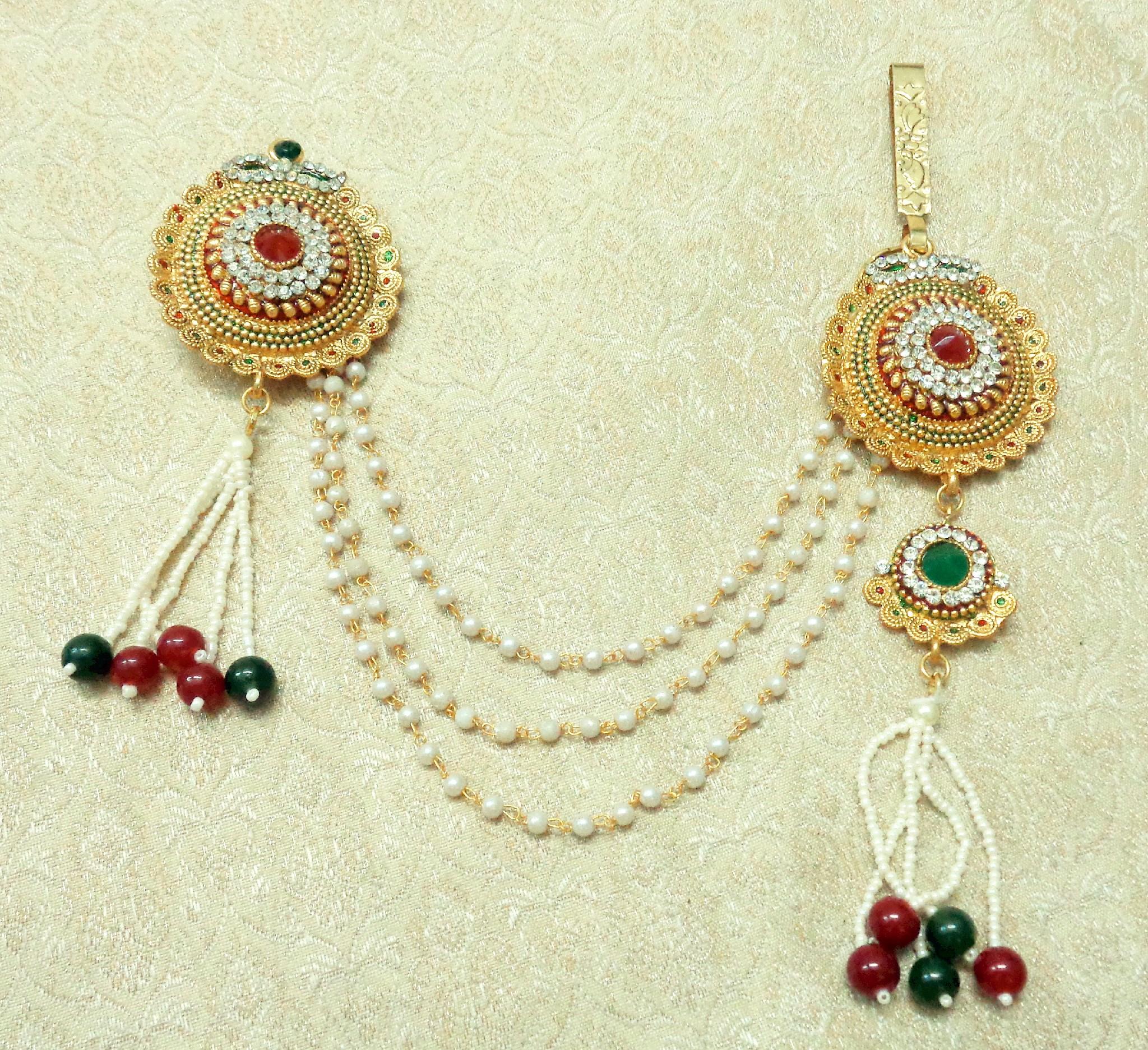 3566ac129 Multi-colour Stone Meenakari Gold plated Sareepin Brooch juda Kamarband for  wedding Festival - LSPJ03_MG - LALSO - 2756396