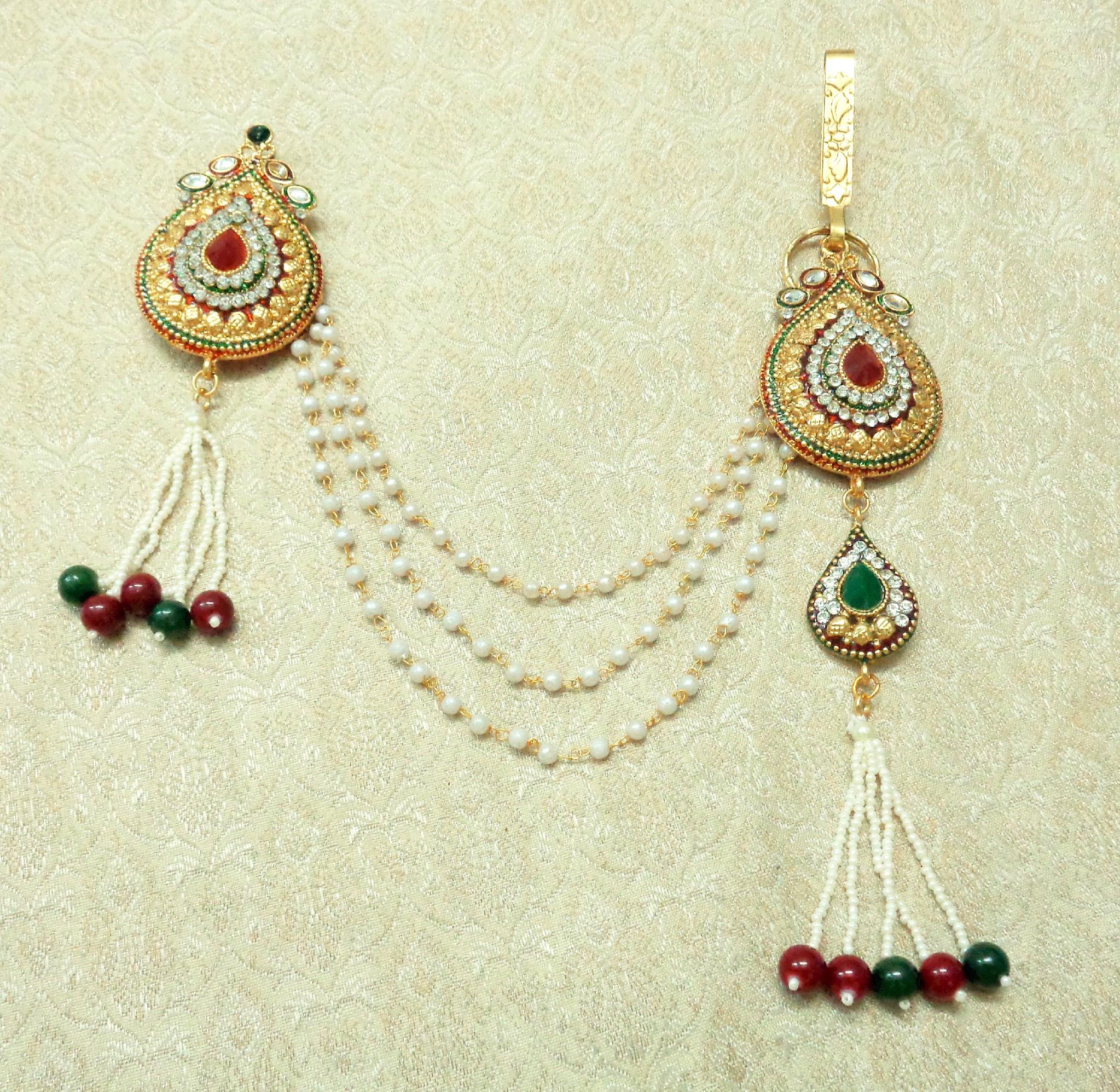 a1c1cb156 Multi-colour Stone Meenakari Gold plated Sareepin Brooch juda Kamarband for  wedding Festival - LSPJ04_MG - LALSO - 2756397