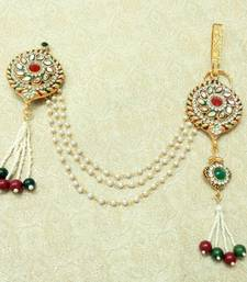 Multi-colour Stone Meenakari Gold plated Sareepin Brooch juda Kamarband for wedding Festival - LSPJ05_MG