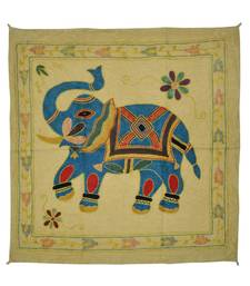 Embroidered Elephant Art wall Hanging Traditional Antique Cotton 34 X 35 Inches