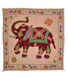 Embroidered Elephant Art wall Hanging Traditional Antique Cotton 31 X 32 Inches