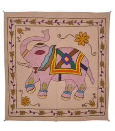 Embroidered Elephant Art wall Hanging Traditional Antique Cotton 33 X 34 Inches