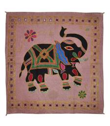 Embroidered Elephant Art wall Hanging Traditional Antique Cotton 33 X 35 Inches