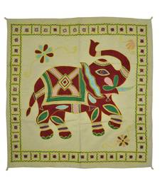 Embroidered Elephant Art wall Hanging Traditional Antique Cotton 32 X 33 Inches
