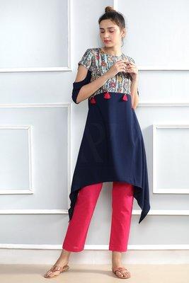 Blue printed polyester stitched kurti