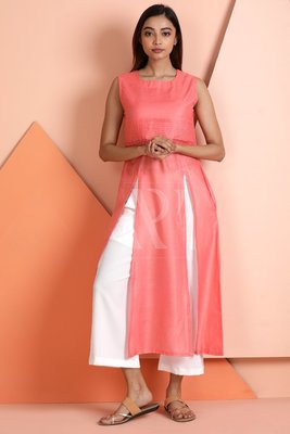 Peach plain viscose stitched kurti