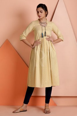 Beige printed cotton stitched kurti