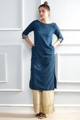 Blue plain polyester stitched kurti