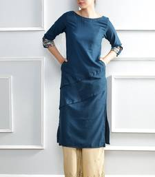 Blue plain polyester stitched kurti